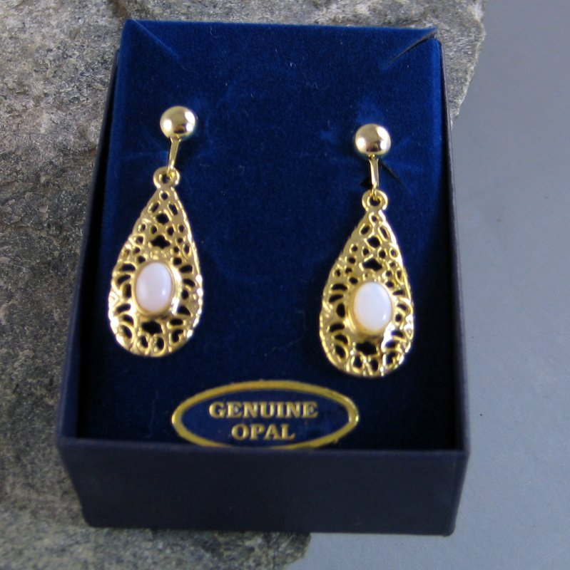 Opal Goldtone Clip Earrings