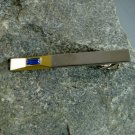 Gold and Silver Tie Clasp Clip Tack with Blue Stone