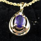 Amethyst Gemstone Pendant Necklace in Goldtone Setting