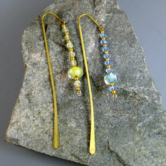 Beaded Goldtone Book Markers
