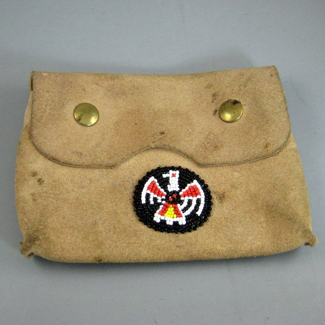 Native American Hand Made Leather Pouch with Beaded Thunderbird Medallion