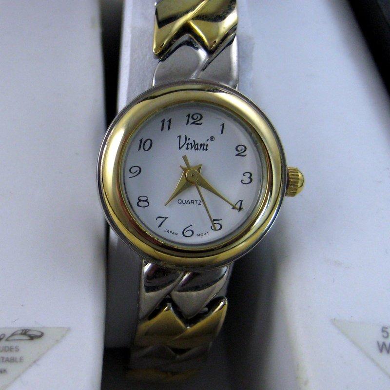 Womens Vivani Accutime Wrist Watch, Womens Time Piece, Gold Silver Watch, Analog Quartz Watch