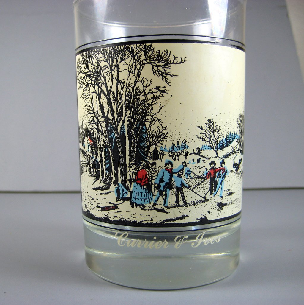 Currier & Ives Glasses Winter Scenes Arbys Christmas Collector Series Winter Pastime