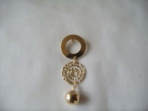 18 kt Gold Double Circle and Ball Drop Stud  Pendant