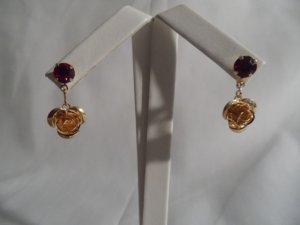 18 kt Gold Rose with Red Stone Stud Earrings