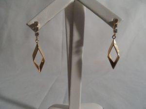 18 kt Gold Drop Stud with Rhinestone Earrings