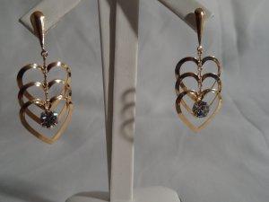 18 kt Gold Triple Heart with clear Rhinestone Stud Earrings