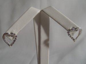 Silver Rhinestone Heart Stud Earrings