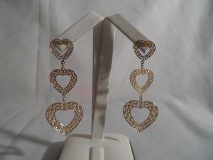18 kt Gold Triple Heart Drop Stud   Earrings