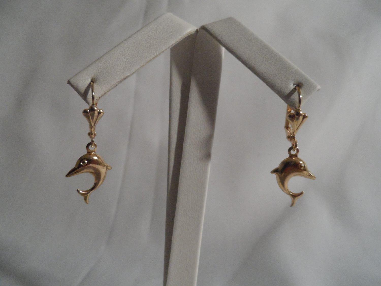 18 kt Gold  Dolphin Earrings