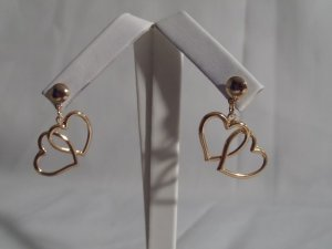 18 kt Gold Double Heart Stud Earrings