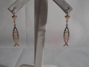 18 kt Gold Fish JESUS Drop Earrings