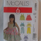 McCall's  Girl's Dress,top and Pants Pattern 6017- New ,size 4,5,6