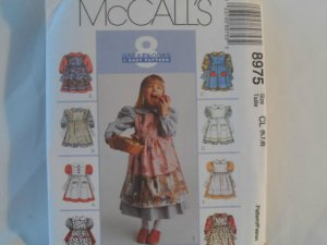 McCall's  Girl's Dress Pattern 8975 - New ,size  6,7,8