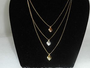 18 kt Gold 3 in 1 Triple Heart Chain and Pendant (04.2782)