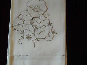 Vintage  Embroidery , Napkins set of 6,Ecru