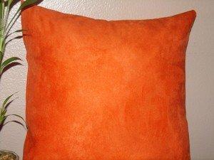 Handmade Decorative Orange Micro Suede Pillow Cover,Throw Covers, 18 x 18