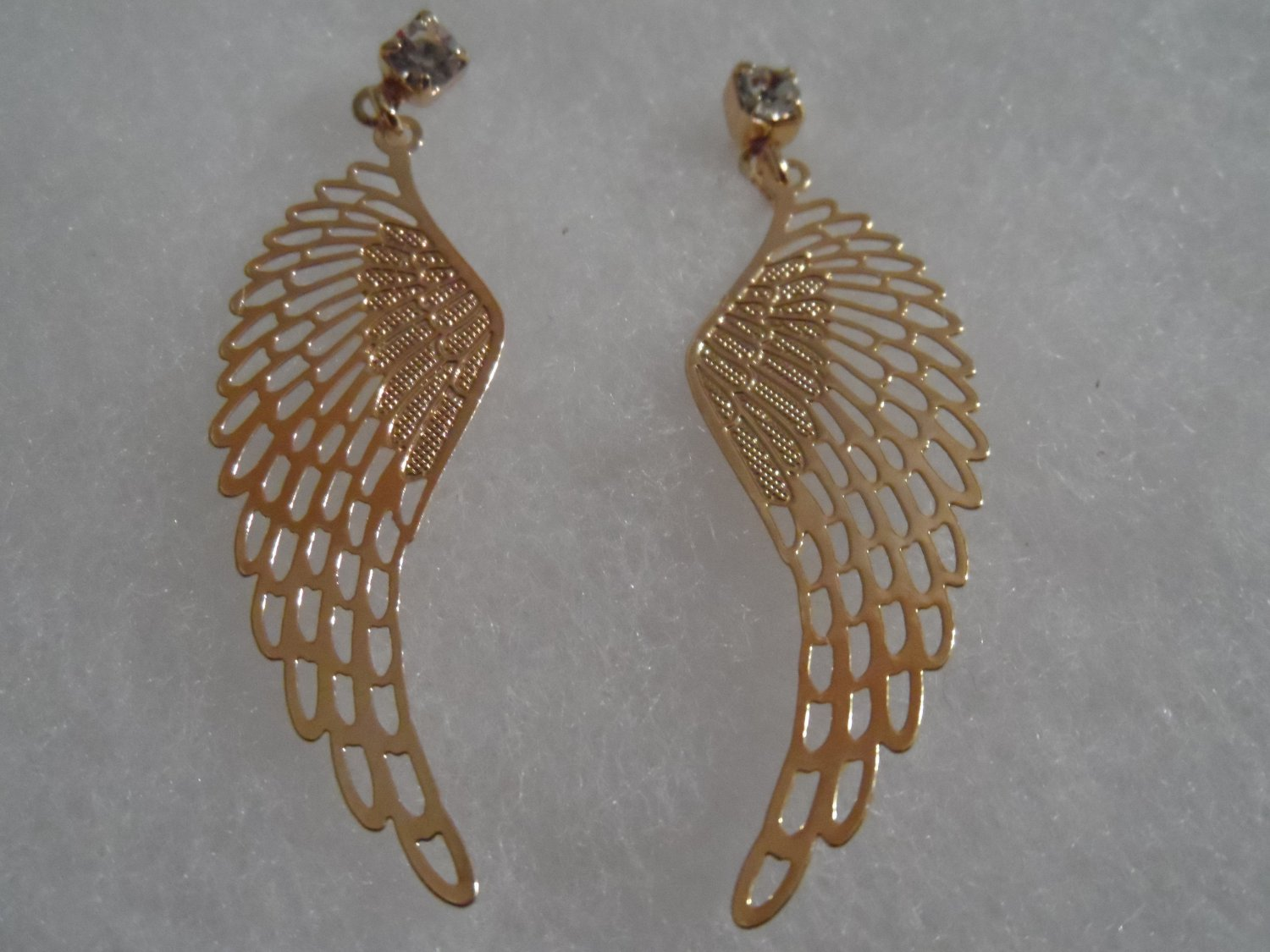 18 kt Gold Angel Wings  with Clear Rhinestone Stud  Earrings
