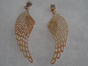 18 kt Gold Angel Wings  with Clear Rhinestone Stud  Earrings