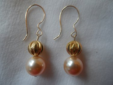14 kt Gold Filled Peach Swarovski Pearls and Gold Ball Earrings
