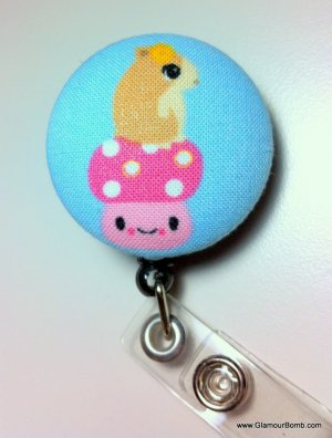 Cute Kawaii Style Chipmunk and Mushroom Identification Badge Reel