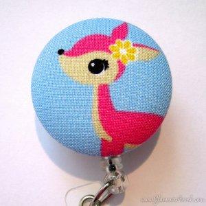 Cute Kawaii Style Pink Deer Identification Badge Reel