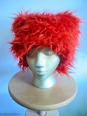 Burning Man Style Orange Furry Hat