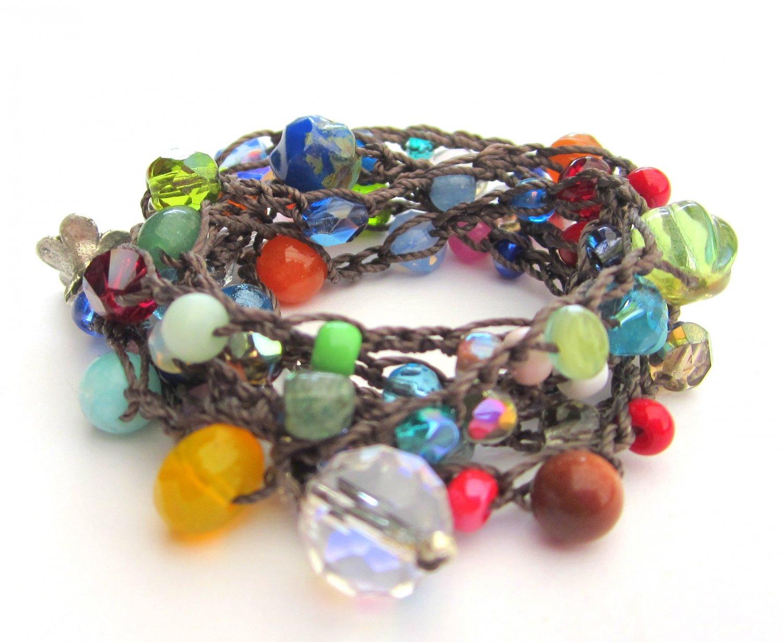 Crocheted wrap bracelet