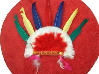gaudy red indian headgear
