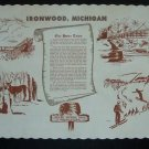 Ironwood Michigan History Paper Place Mat