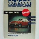 Hyundai Excel 1986-88: Do-It-Right Maintenance Tune-up & Repair Manual Paperback