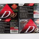 TDK D90 Cassette Tapes 90 Minute Blank High Output IECI/Type I D-90 4 Pack