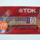 TDK Superior D Normal Bias 60 Minutes Cassette Tape 7 Cnt Bonus Pack New Sealed