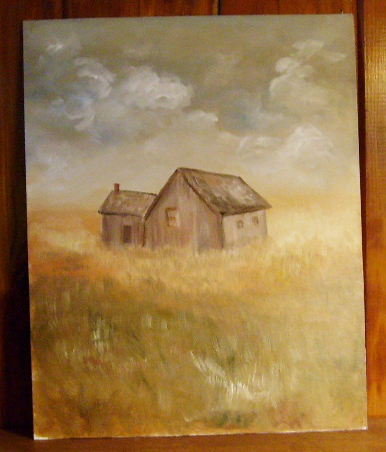 Scenery Painting Old Time Summer Shed in Field Original Oil Painting