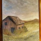 Scenery Painting Old Time Building in Field  Original Oil Painting