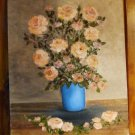 Floral Painting Peach Roses in a Blue Vase Original Oil Painting