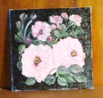 Floral Painting Roses On Black Background Original Oil Painting