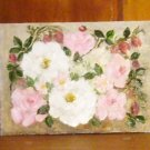 Floral Painting Cottage Roses and Bleeding Heart Original Oil Painting