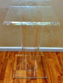 "Clear Lucite Cylinder Pedestal 32"" High"