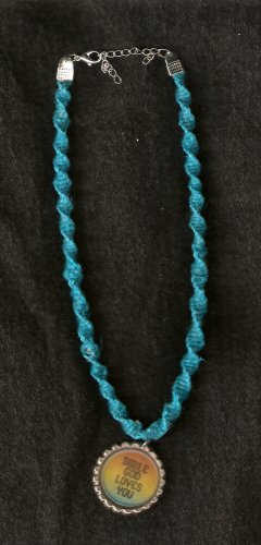 Turquoise Colored Hemp Choker with Pendant