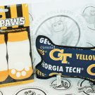 ONE PACK OF 4 DOG SOCKS & SQUEAK TOY - TEAM PAWS GEORGIA TECH UNIVERSITY LARGE