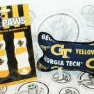 ONE PACK OF 4 DOG SOCKS & SQUEAK TOY - TEAM PAWS GEORGIA TECH UNIVERSITY SMALL