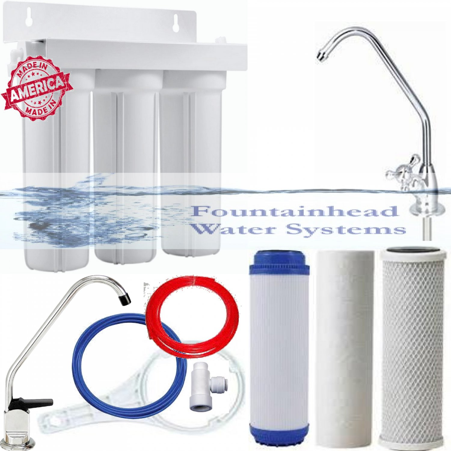 FOUNTAINHEAD 3 STAGE FILTER SYSTEM SEDIMENT/GAC/CARBON BLOCK. CHOICE OF FAUCETS!
