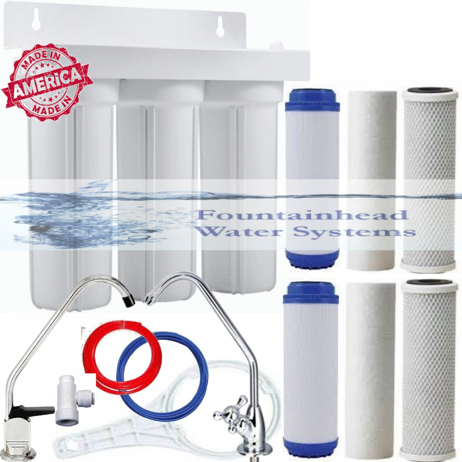 3 Stage Sink Water Filter Choice of Faucets Bonus Filters