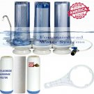 3 STAGE COUNTER TOP WATER FILTER COMPLETE FLUORIDE/CARBON/KDF. FAUCET ADAPTER