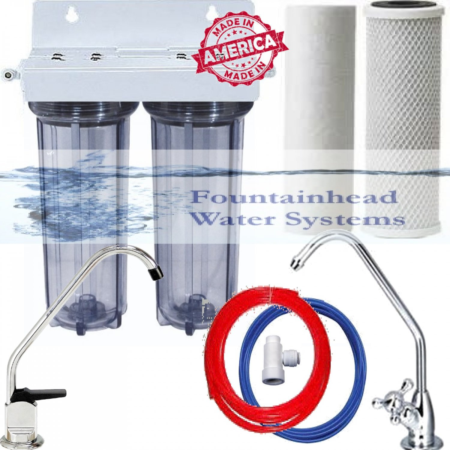 2 Stage Under Sink Drinking Water Clear Filtration System. Choice of Faucets