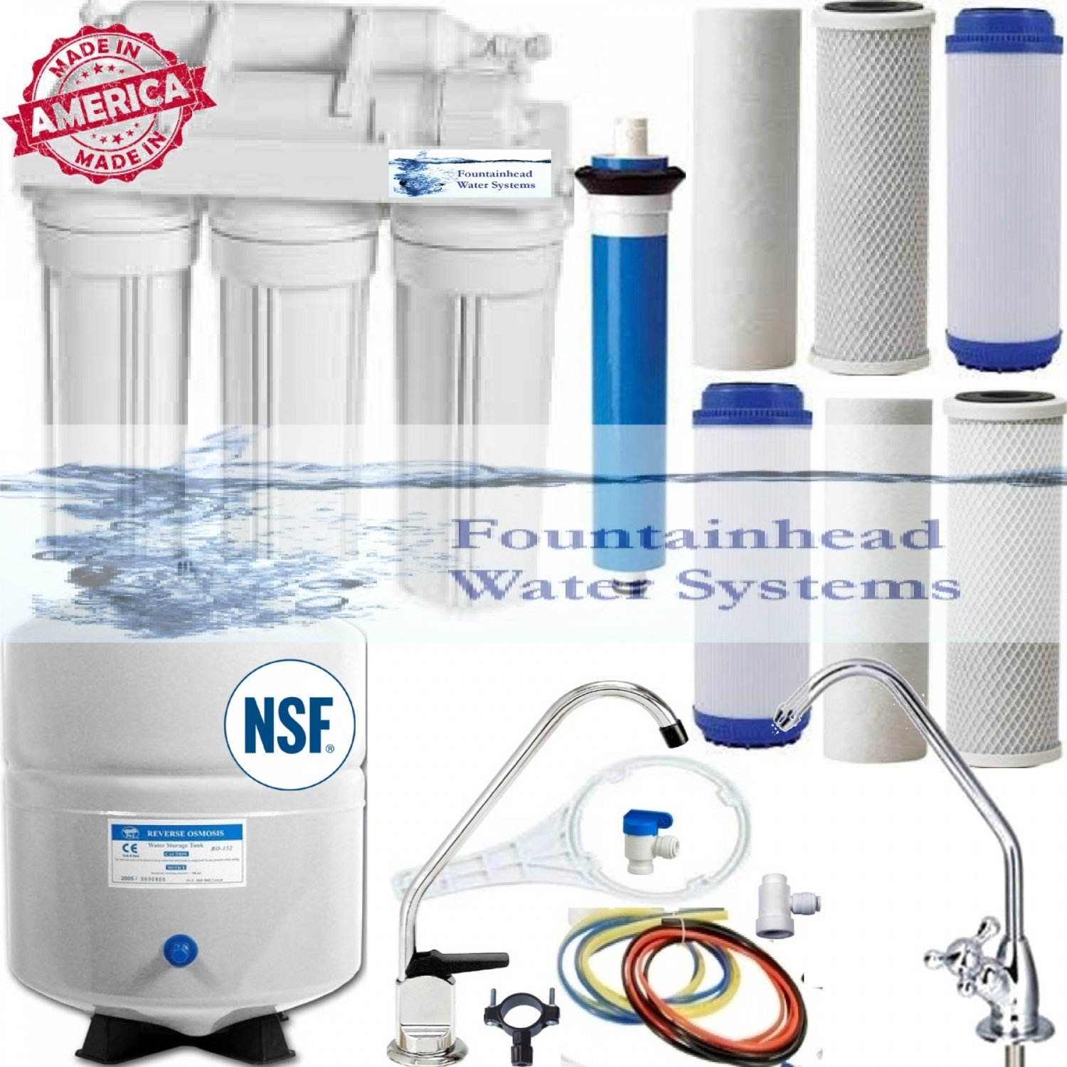 5 Stage Reverse Osmosis System 100 GPD. Choice of Faucets. Bonus Filters