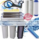 RO/DI REVERSE OSMOSIS AQUARIUM/REEF SYSTEM 6 STAGE MANUAL FLUSH VALVE 100 GPD.
