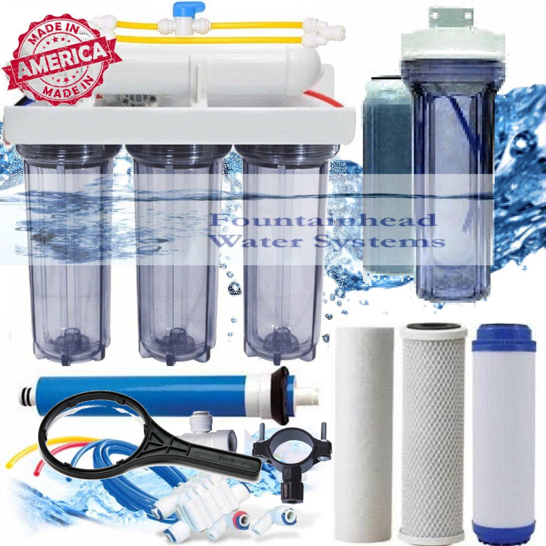 RO/DI Aquarium Reverse Osmosis 5 Stage System 100 GPD Single DI Clear Housings.