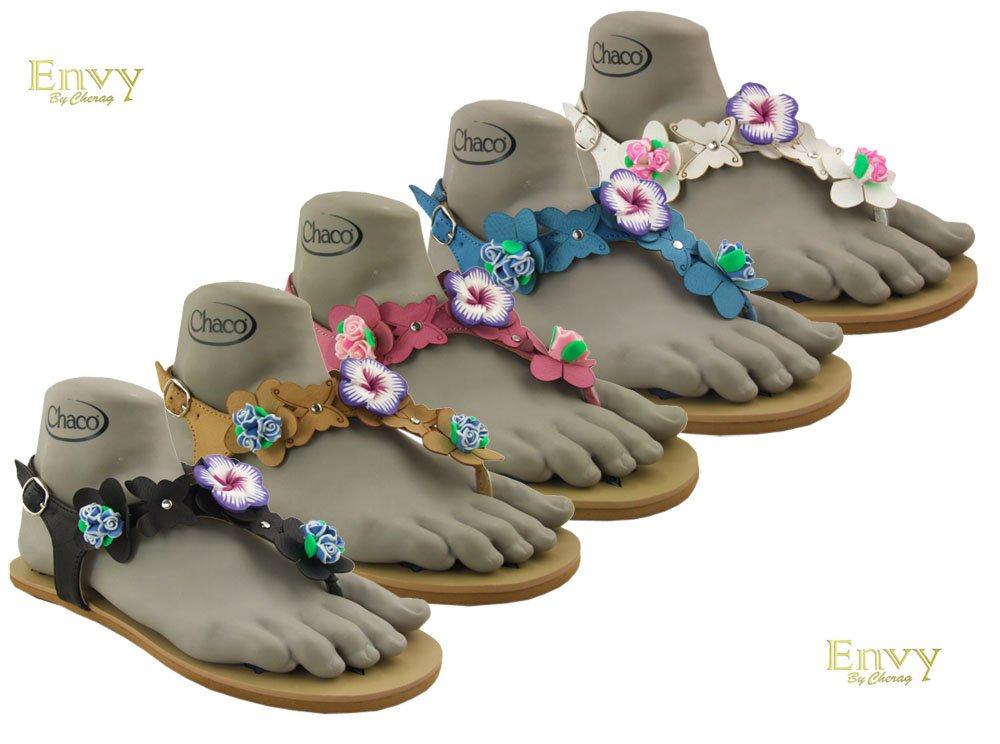 Ladies flower sling-back sandals, colour Black, size 7